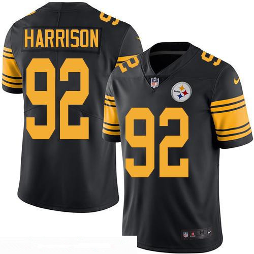 ID98139 Men\'s Pittsburgh Steelers #92 James Harrison Black 2016 Color Rush Stitched NFL Nike Limited Jersey