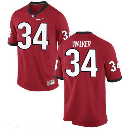 Men's Georgia Bulldogs #34 Herschel Walker Red Stitched College Football 2016 Nike NCAA Jersey_