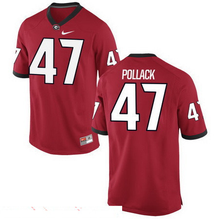 Men's Georgia Bulldogs #47 David Pollack Red Stitched College Football 2016 Nike NCAA Jersey