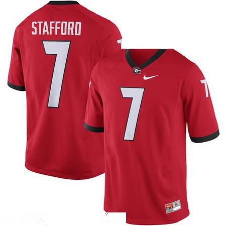 Men's Georgia Bulldogs #7 Matthew Stafford Red Stitched College Football 2016 Nike NCAA Jersey