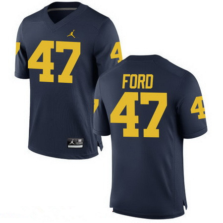Men's Michigan Wolverines #47 Gerald Ford Navy Blue Stitched College Football Brand Jordan NCAA Jersey