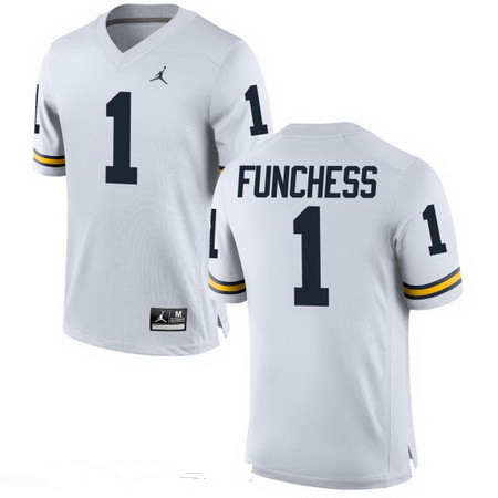 Men's Michigan Wolverines #1 Devin Funchess White Stitched College Football Brand Jordan NCAA Jersey