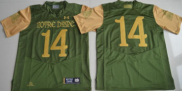 Men's Notre Dame Fighting Irish #14 DeShone Kizer Green Stitched College Football 2016 Shamrock Series Under Armour NCAA Jersey