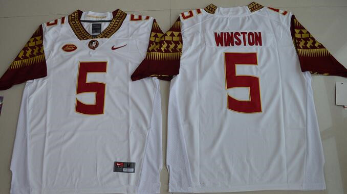 Men's Florida State Seminoles #5 Jameis Winston White Stitched College Football 2016 Nike NCAA Jersey