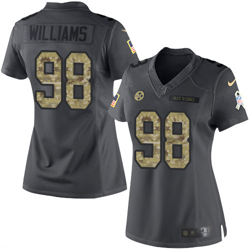 ID97825 Women\'s Pittsburgh Steelers #98 Vince Williams Black Anthracite 2016 Salute To Service Stitched NFL Nike Limited Jersey