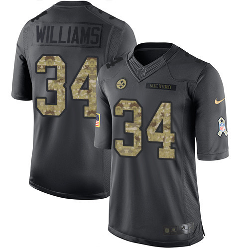 Men s Pittsburgh Steelers  34 DeAngelo Williams Black Anthracite 2016 Salute  To Service Stitched NFL Nike 5ea558af6