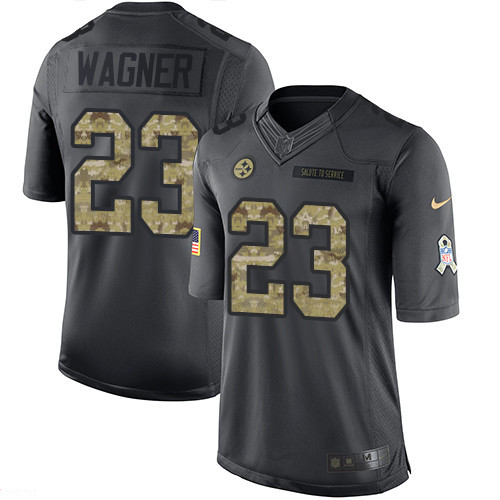 ID97723 Men\'s Pittsburgh Steelers #23 Mike Wagner Black Anthracite 2016 Salute To Service Stitched NFL Nike Limited Jersey