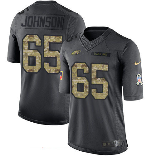875ce60a2 Men s Philadelphia Eagles  65 Lane Johnson Black Anthracite 2016 Salute To  Service Stitched NFL Nike