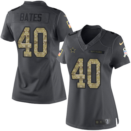 ID97531 Women\'s Dallas Cowboys #40 Bill Bates Black Anthracite 2016 Salute To Service Stitched NFL Nike Limited Jersey