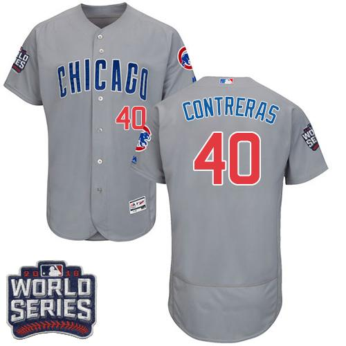 Cubs #40 Willson Contreras Grey Flexbase Authentic Collection Road 2016 World Series Bound Stitched MLB Jersey