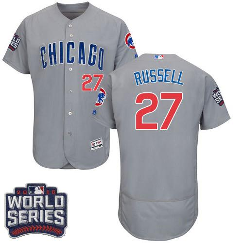 Cubs #27 Addison Russell Grey Flexbase Authentic Collection Road 2016 World Series Bound Stitched MLB Jersey