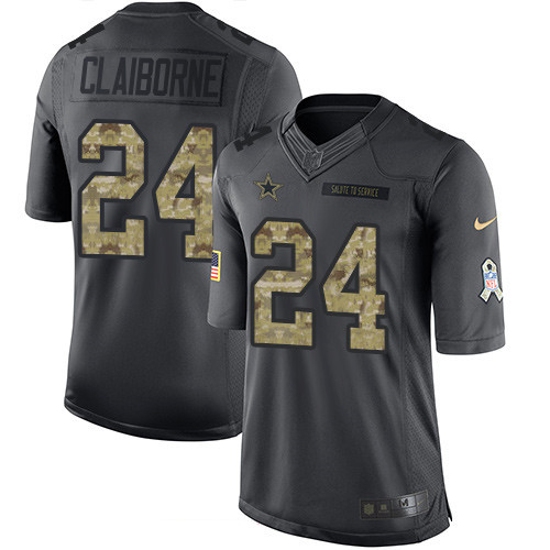 ID97526 Men\'s Dallas Cowboys #24 Morris Claiborne Black Anthracite 2016 Salute To Service Stitched NFL Nike Limited Jersey