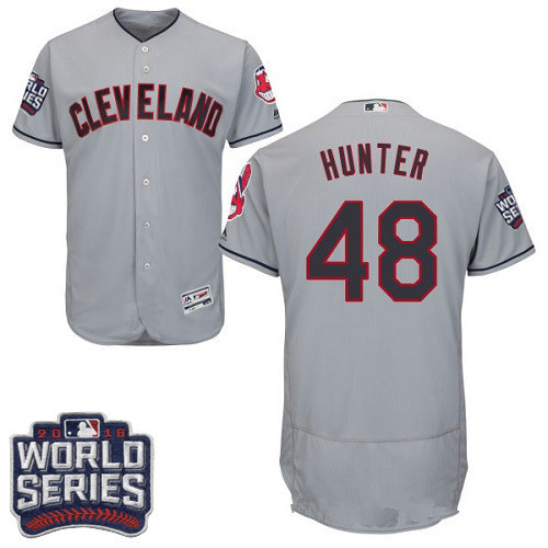 Men's Cleveland Indians #48 Tommy Hunter Gray Road 2016 World Series Patch Stitched MLB Majestic Flex Base Jersey