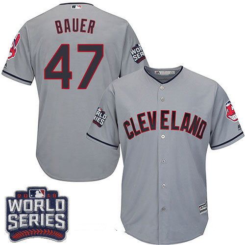 Men's Cleveland Indians #47 Trevor Bauer Gray Road 2016 World Series Patch Stitched MLB Majestic Cool Base Jersey