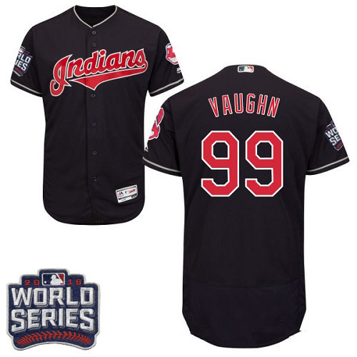 Men's Cleveland Indians #99 Ricky Vaughn Navy Blue 2016 World Series Patch Stitched MLB Majestic Flex Base Jersey