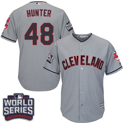 Men's Cleveland Indians #48 Tommy Hunter Gray Road 2016 World Series Patch Stitched MLB Majestic Cool Base Jersey