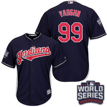 Men's Cleveland Indians #99 Ricky Vaughn Navy Blue Alternate 2016 World Series Patch Stitched MLB Majestic Cool Base Jersey