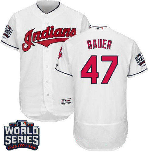 Men's Cleveland Indians #47 Trevor Bauer White Home 2016 World Series Patch Stitched MLB Majestic Flex Base Jersey