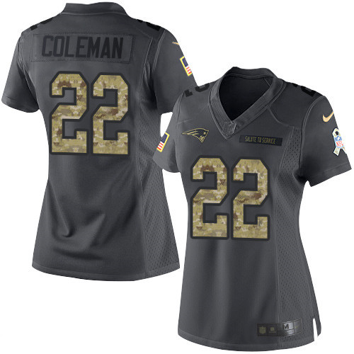 ID97296 Women\'s New England Patriots #22 Justin Coleman Black Anthracite 2016 Salute To Service Stitched NFL Nike Limited Jersey