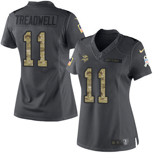 ID97197 Women\'s Minnesota Vikings #11 Laquon Treadwell Black Anthracite 2016 Salute To Service Stitched NFL Nike Limited Jersey