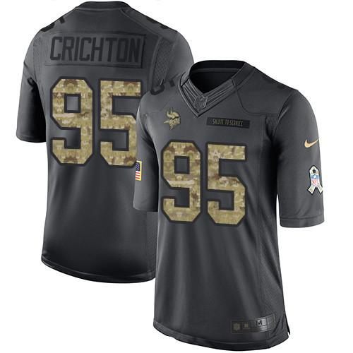 ID97131 Men\'s Minnesota Vikings #95 Scott Crichton Black Anthracite 2016 Salute To Service Stitched NFL Nike Limited Jersey