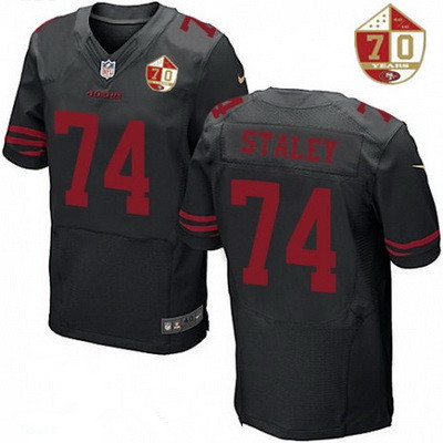 ID98656 Men\'s San Francisco 49ers #74 Joe Staley Black Color Rush 70th Anniversary Patch Stitched NFL Nike Elite Jersey