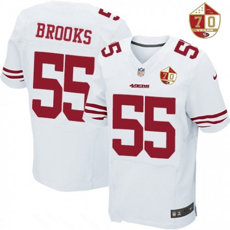 ID98635 Men\'s San Francisco 49ers #55 Ahmad Brooks White 70th Anniversary Patch Stitched NFL Nike Elite Jersey