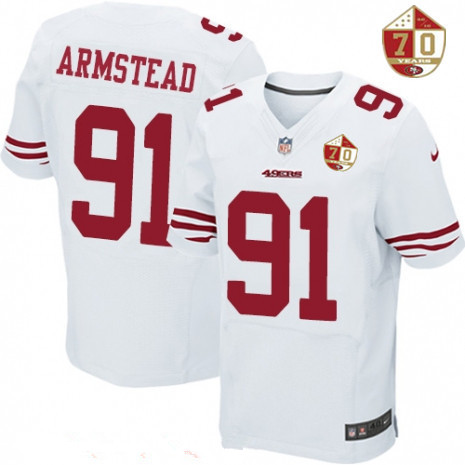 421bf094c55 Men s San Francisco 49ers  91 Arik Armstead White 70th Anniversary Patch  Stitched NFL Nike Elite