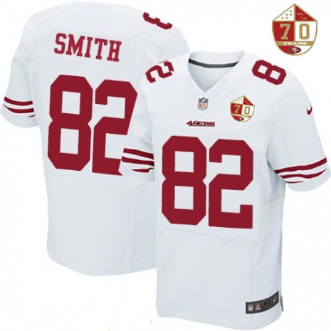 jersey mens san francisco 49ers 82 torrey smith white 70th anniversary patch stitched nfl nike elite