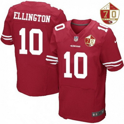ID98714 Men\'s San Francisco 49ers #10 Bruce Ellington Scarlet Red 70th Anniversary Patch Stitched NFL Nike Elite Jersey
