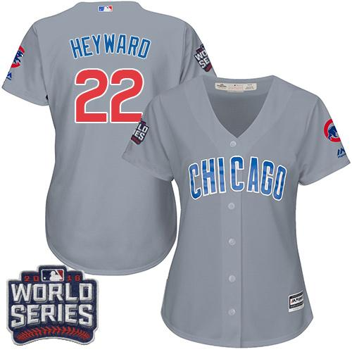 Cubs #22 Jason Heyward Grey Road 2016 World Series Bound Women