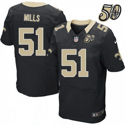 4ce42a75eab Men's New Orleans Saints #51 Sam Mills Black 50th Season Patch Stitched NFL  Nike Elite