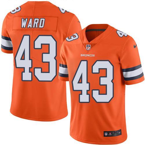 nike broncos 43 t.j. ward orange mens stitched nfl limited rush jersey
