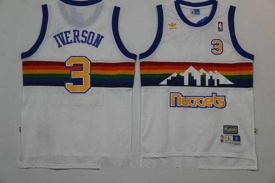 6b448ac0838 ... Mens Denver Nuggets 3 Allen Iverson White Rainbow Hardwood Classics  Soul Swingman Throwback Jersey ...