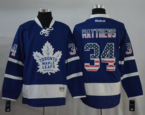 a1dab63f197 ... Maple Leafs 34 Auston Matthews Blue USA Flag Fashion Stitched NHL Jersey  ...