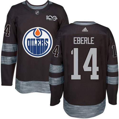 Oilers #14 Jordan Eberle Black 1917-2017 100th Anniversary Stitched NHL Jersey