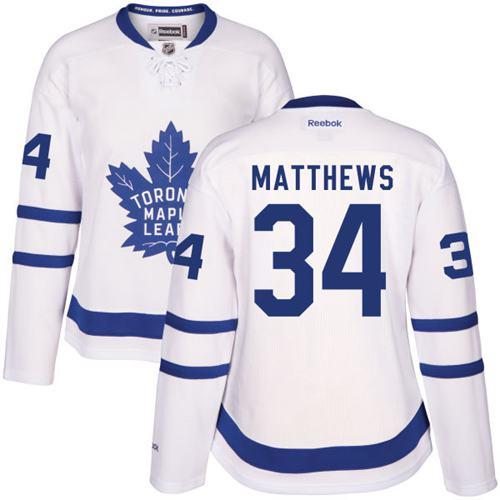 Women's Toronto Maple Leafs #34 Auston Matthews White Away Stitched NHL 2016-17 Reebok Hockey Jersey