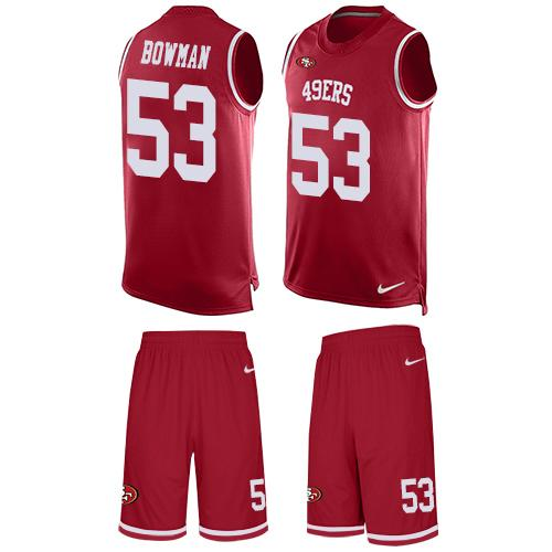 596d2775f ... top quality nike 49ers 53 navorro bowman red team color mens stitched  nfl limited tank top