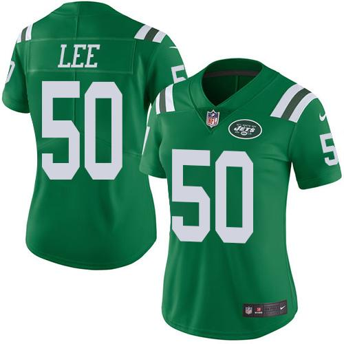 ID96919 Nike Jets #50 Darron Lee Green Women\'s Stitched NFL Limited Rush Jersey