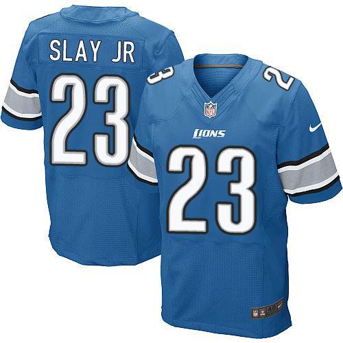 ID96637 Nike Lions #23 Darius Slay JR Blue Team Color Men\'s Stitched NFL Elite Jersey