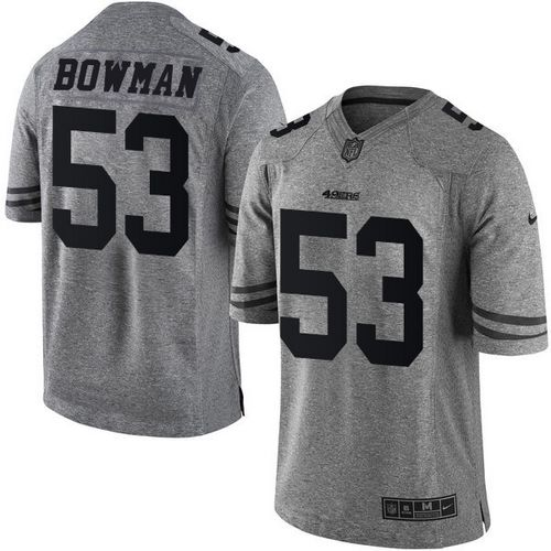 ID102088 Nike 49ers #53 NaVorro Bowman Gray Men\'s Stitched NFL Limited Gridiron Gray Jersey