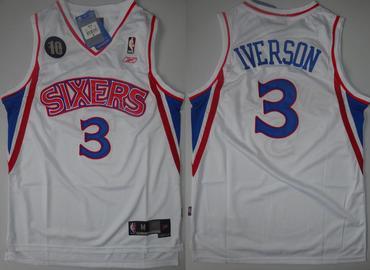 3d718ec20 ... NBA Philadelphia 76ers 3 Allen Iverson White 10th Soul Swingman Jersey  ...