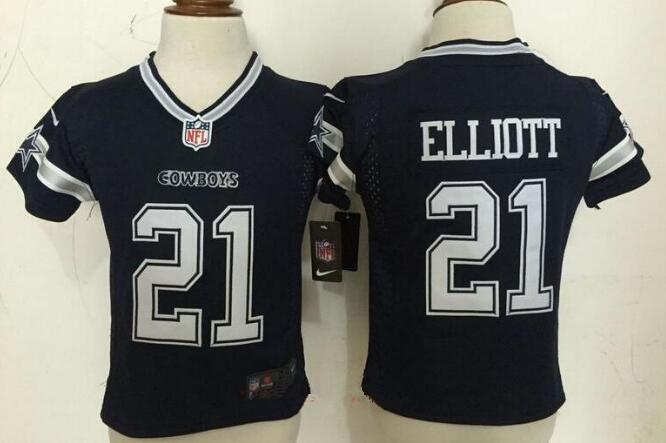 Toddler Dallas Cowboys #21 Ezekiel Elliott Navy Blue Team Color Stitched NFL Nike Game Jersey