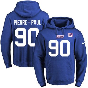 ID96481 Nike Giants #90 Jason Pierre-Paul Royal Blue Name & Number Pullover NFL Hoodie