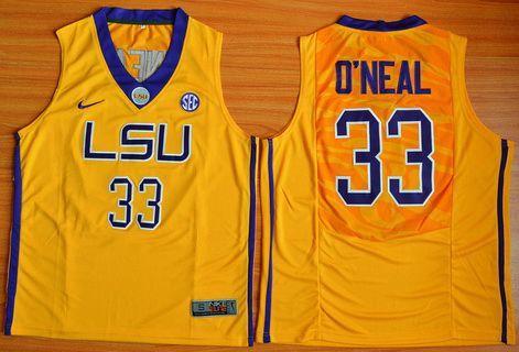 80cc6e9ce1d ... Mens LSU Tigers 33 Shaquille ONeal Gold College Basketball Nike Jersey  Buy Ben Simmons NCAA LSU Tigers ...