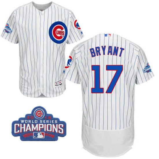 652e656ce55 ... Mens Chicago Cubs 17 Kris Bryant White Home Majestic Flex Base 2016  World Series Champions ...