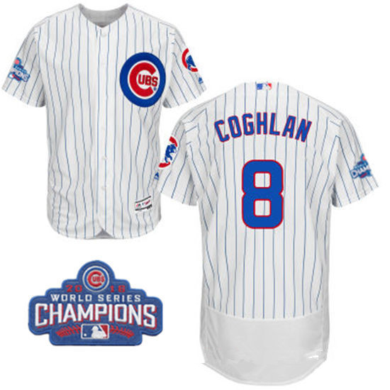 af417924a0e ... Mens Chicago Cubs 8 Chris Coghlan White Home Majestic Flex Base 2016  World Series Champions Mothers Day Anthony Rizzo ...