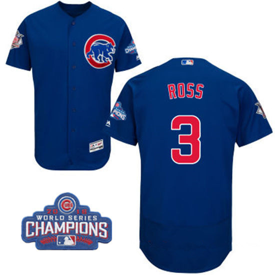 Men's Chicago Cubs #3 David Ross Royal Blue Majestic Flex Base 2016 World Series Champions Patch Jersey