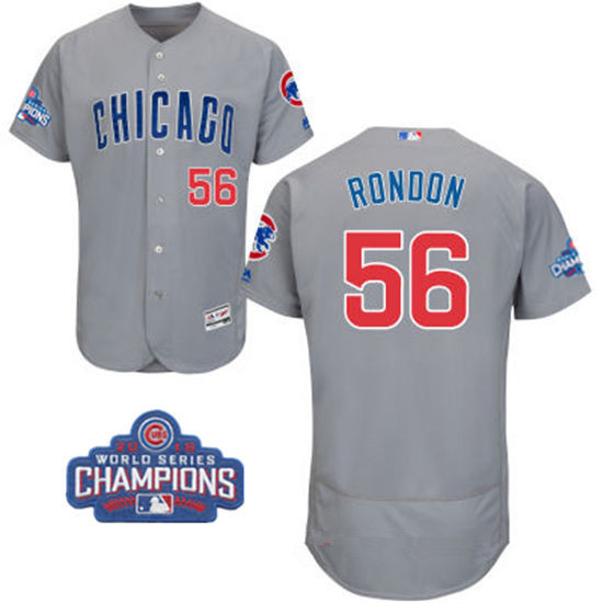 Men's Chicago Cubs #56 Hector Rondon Gray Road Majestic Flex Base 2016 World Series Champions Patch Jersey