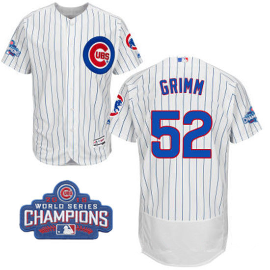Men's Chicago Cubs #52 Justin Grimm White Home Majestic Flex Base 2016 World Series Champions Patch Jersey